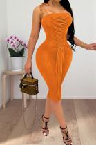 Orange Euramerican Pure Color Ribbon Sling Slim Fitting Dress QSS51018-5