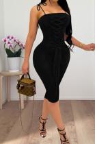 Black Euramerican Pure Color Ribbon Sling Slim Fitting Dress QSS51018-3