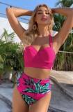 Two-Piece Print Rose High Waist Swimwear