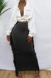 Black Cute Two Side Tassel Long Skirts MTY6538-3