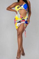 Yellow Women Sexy Hollow out Drawsting Mini Dress PY0827-3