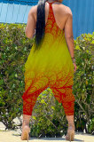 Gradient Red Yellow Women Sexy Gradient Printing Casual Jumpsuits PY826-1