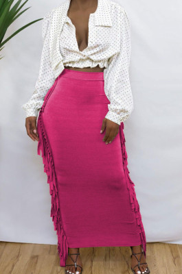 Rose Red Cute Two Side Tassel Long Skirts MTY6538-1