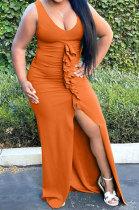 Orange Sleeveless Trendy Pure Color Ruffle Open Fork Long Dress AJL8016-1