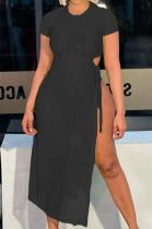 Black Net Yarn Perspective High Open Fork Sexy Dress DN8614-2