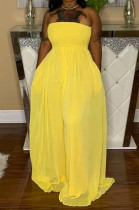 Yellow Fashion Sexy Boot Tube Top Shirred Detail Wide Leg Jumpsuits DN8615-4