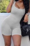 Gray Pure Color Screw Thread Bodycon Casual Vest Romper Shorts Q896-4