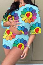 Euramerican Women Digital Cute Printing Pullover Casual Shorts Sets BYL6660