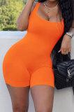 Orange Pure Color Screw Thread Bodycon Casual Vest Romper Shorts Q896-9