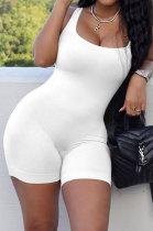 White Pure Color Screw Thread Bodycon Casual Vest Romper Shorts Q896-1