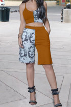 Yellow Sexy Women Printing Condole Belt Top Shorts Sets PY823-2