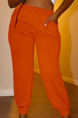 Orange Euramerican Women Pure Color Casual Plus Size Pants PY821-5