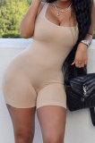 Apricot Pure Color Screw Thread Bodycon Casual Vest Romper Shorts Q896-7