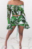 Green Leaves Printing Net Yarn Perspective A Word Shoulder Shirred Detail Sexy Lotus Leaf Sleeve Skirts Sets Q900-1