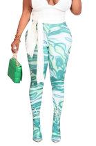Green Women Sexy Fashion Pattern Printing High Waist Pantihose SDD9518-1