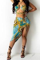 Sleeveless Casual Printing Shirred Detail Skirts Sets BYL81000