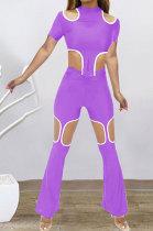 Purple Women Short Sleeve Hole Pants Sets BYL9030-2