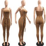 Red Street Bandage Design Skinny Brown One-piece Jumpsuit JP1050