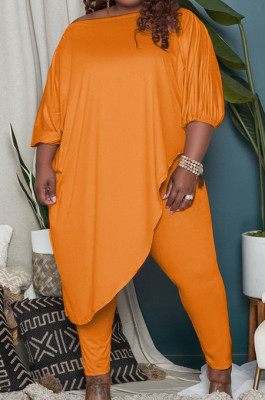 Orange Big Yards Loose Pure Color Inclined Shoulder Spring Autumn Two Piece QSS51023-4