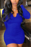 Blue Women Deep V Neck Tight Sexy Long Sleeve Mini Dress Q912-8