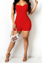 Red Women Sexy Pure Color Condole Belt Zipper Double Pocket Romper Shorts MOL166-3