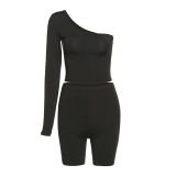 Solid Asymmetrical Tracksuit Crop Tops+Elastic Bike Shorts Sporty Two Piece Matching Suits