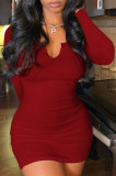 Dark Red Women Deep V Neck Tight Sexy Long Sleeve Mini Dress Q912-1