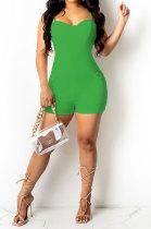 Green Women Sexy Pure Color Condole Belt Zipper Double Pocket Romper Shorts MOL166-4