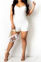 White Women Sexy Pure Color Condole Belt Zipper Double Pocket Romper Shorts MOL166-1