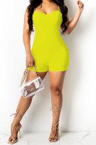 Yellow Women Sexy Pure Color Condole Belt Zipper Double Pocket Romper Shorts MOL166-2