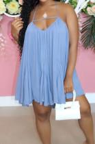 Light Blue Casual Chiffon Sling Backless Mini Dress JC7061-1