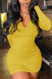 Yellow Women Deep V Neck Tight Sexy Long Sleeve Mini Dress Q912-4