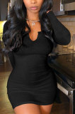 Black Women Deep V Neck Tight Sexy Long Sleeve Mini Dress Q912-5