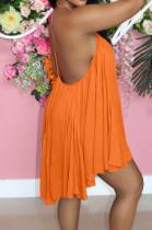 Orange Casual Chiffon Sling Backless Mini Dress JC7061-2