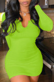 Neon Green Women Deep V Neck Tight Sexy Long Sleeve Mini Dress Q912-6