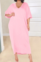 Pink Fashion Pure Color Deep V Neck Loose Casual Long Dress YX9289-4