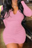 Pink Women Deep V Neck Tight Sexy Long Sleeve Mini Dress Q912-3