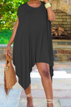 Black Fashion Pure Color Irregularity Mini Dress ZQ8099-2