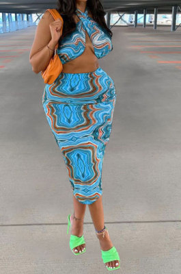 Lines Blue Women Sexy Halter Neck Printing Backless Plus Skirt Sets PY0831-3