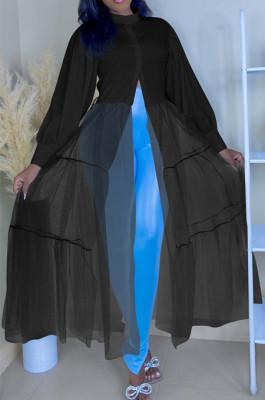 Black Summer Loose Waist Net Yarn Spliced Long Sleeve Long Dress QY5072-2
