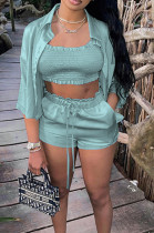 Light Cyan High Elastic Satin Wave Edge Spininess Rubber String Pull A Wrinkled Shirt Shorts Three Piece SZS8036-2