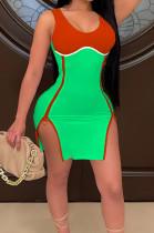 Neon Green Women Digital Printing Contrast Color Strapless Zipper Open Fork Mini Dress SZS8122-3