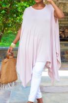 Light Pink Fashion Pure Color Irregularity Mini Dress ZQ8099-1