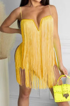 Orange Yellow Fashion Sexy Sling Tassel Strapless Mini Dress SZS8085-3