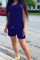 Royal Blue Fashion Casual Round Neck Collect Wasit Bind Slim Fitting Short Sleeve Shorts Sports Sets SM9195-1