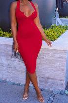 Red Women Trendy Pure Color Sexy Mini Dress MA6710-2
