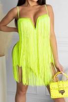 Neon Green Fashion Sexy Sling Tassel Strapless Mini Dress SZS8085-2