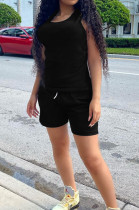 Black Fashion Casual Round Neck Collect Wasit Bind Slim Fitting Short Sleeve Shorts Sports Sets SM9195-3