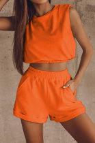 Orange Women Trendy Sport Casual Pure Color Vest Shorts Sets ML7446-3