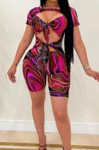 Rose Red Fashion Sexy Printing Slim Fitting Jumpsuits A8610-1